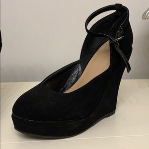 Black velvet high wedges with ankle strap
